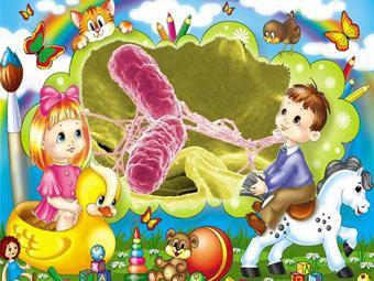"""В центре - раскрашенная электронная микрофотография бактерии Salmonella typhimurium (изображение Rocky Mountain Laboratories). Монтаж """"Медновостей""""."""